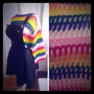 Rainbow Sweater Hand Knitted Large Crochet Top OS